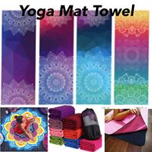 Yoga Pilates Mat Towel Anti Slip Premium Quality Mandala Design Long Round