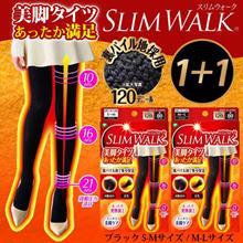 【2個セット】スリムウォーク 美脚タイツ あったか満足<ブラック S-Mサイズ / M-Lサイズ>