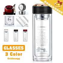 Grab High Quality Water Bottle- Sealing up▶BEMEGA n FORIS Authentic  Double Layer  Water Bottle with Tea Funnel◀GEB -Platinum explosion-proof cup/ Double wall glass with filter