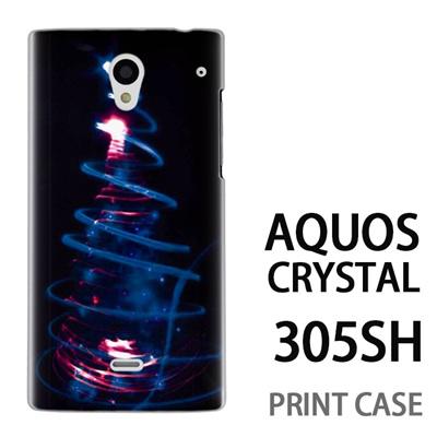 AQUOS CRYSTAL 305SH 用『1223 ネオンツリーライトアップ エメラルド』特殊印刷ケース【 aquos crystal 305sh アクオス クリスタル アクオスクリスタル softbank ケース プリント カバー スマホケース スマホカバー 】の画像