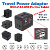 2.1A USB Port Travel Universal Power Adapter 2.1A USB Port for ipad iphone charging Wall Charger Soc