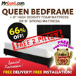 [FURNITURE SALES] Queen Mattress + Queen Bedframe Set / Bed with Frame!!! FREE 2x PILLOW !!!! FREE FORTUNE CAT !!!