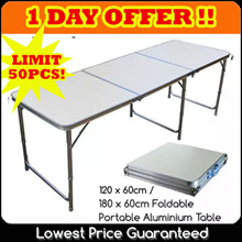 TOP SELLER! 120cm x 60cm / 180cm x 60cm Portable Foldable Aluminium Table