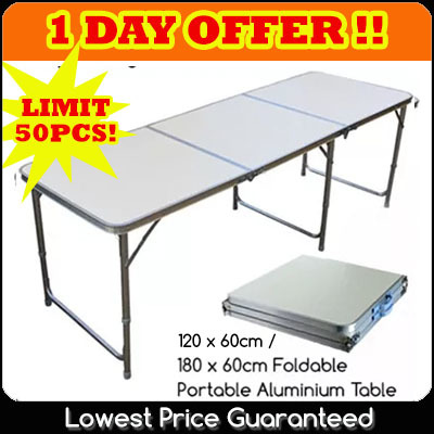 FREE DELIVERY sponsor by qoo10! 120cm x 60cm / 180cm x 60cm Portable Foldable Aluminium Table Deals for only S$98 instead of S$0