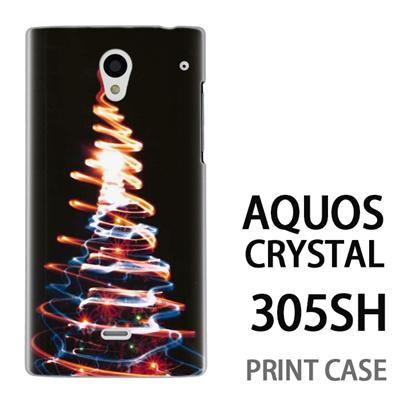 AQUOS CRYSTAL 305SH 用『1223 ネオンツリーライトアップ ゴールド』特殊印刷ケース【 aquos crystal 305sh アクオス クリスタル アクオスクリスタル softbank ケース プリント カバー スマホケース スマホカバー 】の画像