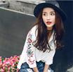 即納!刺繍 レディース シャツ上着 トップス かわいい 花刺繍 ブラウス コットン レディース  シャツ 長袖  通勤 可愛い   韓国のファッション 春新作