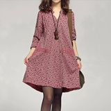 【M18】Women's dress/ cute dot pattern/ commoner dress/ loose fitting style/ Korean fashion/ soft and smooth cotton dress/ long-sleeved dress/ four color options