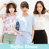 Super Time Sale!! ★darllyshop★ Ruffles Blouse ★ Fast Shipping! Korea Open Market Best Selling High Quality Tee and Blouse