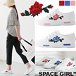 light! ♥ Rose sneakers ★ Slim romantic rose sneaker / punching / summer shoes / shoes / loafers / flat shoes / white / new work / sandals / slippons / slippers / daily shoes