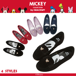 ♥New Arrival♥Gracegift-Disney Mickey Studded Leather Moccasins/Hidden Wedge/Women Shoes