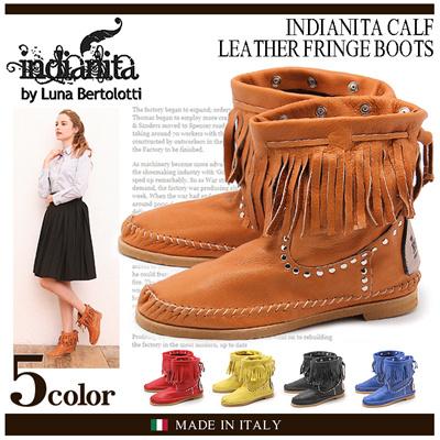 インディアニタ フリンジブーツ INDIANITA CALF レディース カーフ ブーツ 本革 シューズ 靴の画像