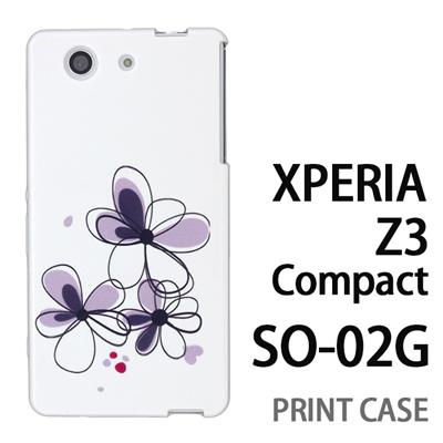XPERIA Z3 Compact SO-02G 用『0822 花びら3つ 黒』特殊印刷ケース【 xperia z3 compact so-02g so02g SO02G xperiaz3 エクスペリア エクスペリアz3 コンパクト docomo ケース プリント カバー スマホケース スマホカバー】の画像