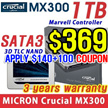 "[CRUCIAL] SATA 2.5"" 7mm  MX300 SSD 1TB / Micron 3D TLC NAND / Marvell 88SS107 /High Speed/ PC"