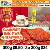 [Singapore Food Expo] XiShi Bak Kwa 西施肉干 – 300g per pack $9.80. Gourmet Bak Kwa 4 Flavours. Buy 3 at $24!