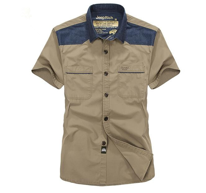 メンズカジュアルシャツ ミリタリー棉シャツ 半袖シャツ 【送料無料】 y-4