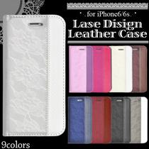 【送料無料・国内発送】 iPhone6  /iPhone6s / iPhone7  手帳型 レースデザインレザーケース*アイフォン6 アイフォンカバー アイフォン7(ip6-4012 ip7-4012)