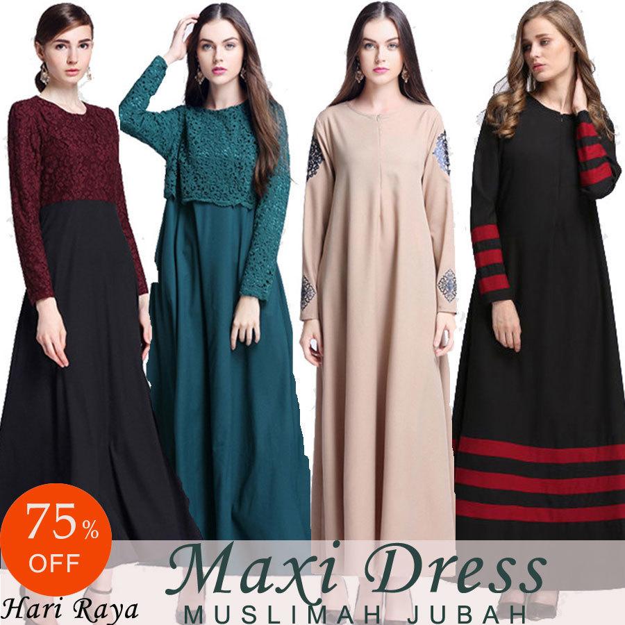 Black dress qoo10 - Muslimah Hari Raya Maxi Dress Muslim Dress Muslimah Jubah