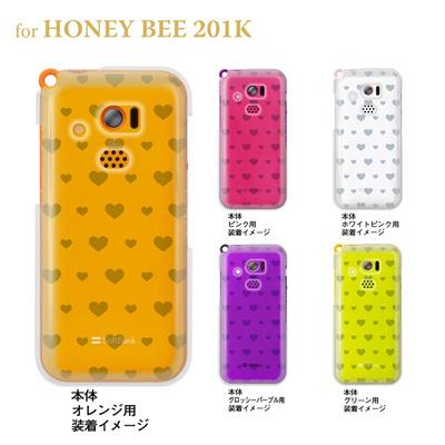 【HONEY BEE ケース】【201K】【Soft Bank】【カバー】【スマホケース】【クリアケース】【トランスペアレンツ】【ミニハート】 06-201k-ca0021kの画像