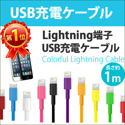 ライトニングケーブル 1m iPhone6 iPhone5 Lightning ケーブル Lightningケーブル 充電ケーブル アイフォン5 カラー 同期 USB iPad4 iPad mini Air IP5C-01[ゆうメール配送][送料無料]の画像