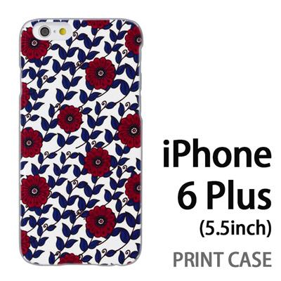 iPhone6 Plus (5.5インチ) 用『0316 蔓フラワー 赤×青』特殊印刷ケース【 iphone6 plus iphone アイフォン アイフォン6 プラス au docomo softbank Apple ケース プリント カバー スマホケース スマホカバー 】の画像