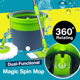[Local Fast Delivery]★Deluxe flat and rotary dual-functional mop★360° Rotating Head Easy Magic Floor Mop Bucket 2 Head Microfiber Spinning / 2014 New Design Magic Spin Mop Bucket Set