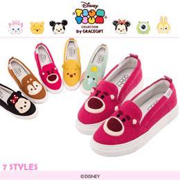♥New Arrival♥Gracegift-Disney TsumTsum Felt Patch Casual Slip On/Women Shoes