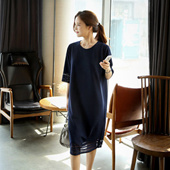 [Mayblue] ★ production in sexy mature in fascinated skin casual peek from free shipping ★ ★ punching half sleeve punching race line dress