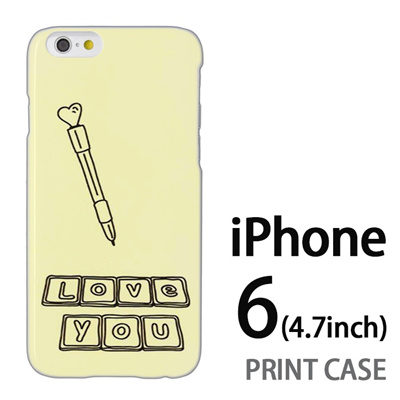 iPhone6 (4.7インチ) 用『0829 Love You 黄』特殊印刷ケース【 iphone6 iphone アイフォン アイフォン6 au docomo softbank Apple ケース プリント カバー スマホケース スマホカバー 】の画像