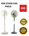 KDK Stand Fan P40US (Pedestal Fan). 3 Speed and ON/OFF push-button switch. Height adjustable 129cm to 154cm. Metal Blade.