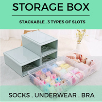 STACKABLE STORAGE ORGANIZER BOX WITH COMPARTMENTS *NEW KOREAN DESIGN* GOOD FOR BRA / UW / SOCKS