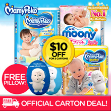 [Unicharm]【FREE 888 QPOINTS FLASH + POKOCHAN PILLOW 】AUTHENTIC MAMYPOKO/MOONY/MOONYMAN Diaper!