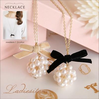 【送料無料】淡水パール ロングネックレス レディース ネックレス リボン チェーンネックレス 淡水真珠 可愛い ペンダント ジュエリー アクセサリー レデイース necklace ac-k14n82の画像