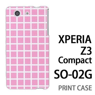 XPERIA Z3 Compact SO-02G 用『0823 ピンク チェック』特殊印刷ケース【 xperia z3 compact so-02g so02g SO02G xperiaz3 エクスペリア エクスペリアz3 コンパクト docomo ケース プリント カバー スマホケース スマホカバー】の画像