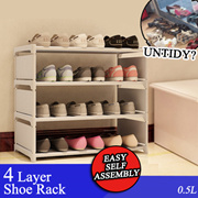 4 Layer Shoe Rack / Toys Rack / Bookshelf / Shoe Storage / Easy self assembly