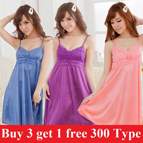 Buy 3 free 1 Woman summer sleepwear girl nightdress cartoon cute pajamas women lingerie cute pajamas Deals for only S$48 instead of S$0