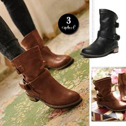 [10月上旬発送]ブーツ ショートブーツ レディース エンジニアブーツ 大きいサイズ プラスサイズ シンプル 靴 シューズ  新作