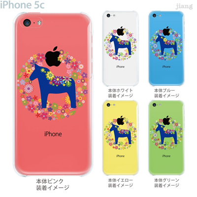 【iPhone5c】【iPhone5cケース】【iPhone5cカバー】【iPhone ケース】【クリア カバー】【スマホケース】【クリアケース】【イラスト】【フラワー】【vuodenaika】【北欧】【ダーラナホース】 21-ip5c-ne0053の画像