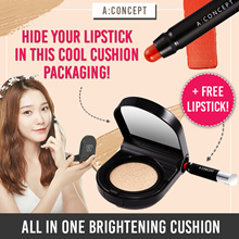 [USE COUPON HERE!]😲 LAUNCH SPECIAL! 1+1+1! LATEST CUSHION HIT! ✦2-in-1 Brightening Cushion✦ A Concept Korea: Brightening Cushion + REFILL + FREE lipstick |  Longlasting and Super Portable 😲