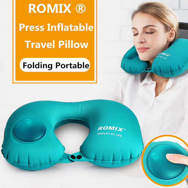 ROMIX ®Press Inflatable Travel Pillow For Airplane U Shape Pillow Neck Folding Simple Portable Neck Deals for only S$15.5 instead of S$0