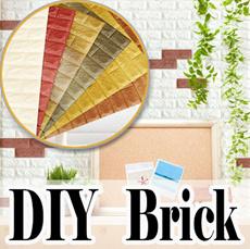 ★ Bakuta wallpaper/DIY interior/Self Adhesive/3D real Foam brick Wallpaper/Brick home decoration/ furniture/DIY/Wallpaper Sticker /Korean/Quality/Easy DIY/3D block/foambrick/foam block/foamblock