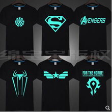 Iron Man Night Light T-Shirt Women Avengers Superman World of Warcraft Short Sleeve