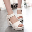 2015 summer new Korean version of the white, thick with fish head muffin platform sandals waterproof shoes with Velcro in