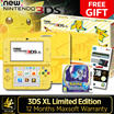 Special Promo Yellow Pikachu Nintendo 3DS XL Limited Edition w Free Screen Pro,Crystal Casing n USB Charging Cable! Plus 1 x Free Pokemon Moon!Local 12 Months Maxsoft Warranty
