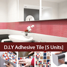 ★5 Units Value Pack★Hanhwa DIY Adhesive Bodaq Tile Sheet/Embossed Dimensional Effect!/Antibacterial Function Antimycotic Undetected 6 Ranges of Heavy Metal /Bathroom/Kitchen