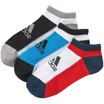 アディダス(adidas) キッズ 3足入り アンクル ソックス ソーラーブルー S14/ホワイト/ブラック DDV16 F92174 【靴下 ジュニア スニーカーソックス】の画像