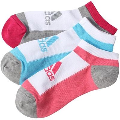 アディダス(adidas) キッズ 3足入り アンクル ソックス ホワイト/バヒアピンク S14/テックグレー DDV16 M36804 【靴下 ジュニア スニーカーソックス】の画像