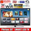 Philips 39 Inches SMART LED TV | FULL HD | Wi-Fi USB Included FREE | 100 Hz Motion Rate | Slim Design | 1 Year International Warranty | Also available in non smart model | PSB Safety Mark Approved