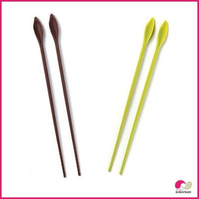 【日用品】 flos siliconeシリコンシリコン炒め用箸long chopsticks greenbrown HKS-E024、HKS-E025の画像