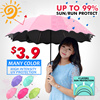 ▶Dual-use umbrella  for rain or  shine *UV light  protection *Water Flower Design*Double layer design*Give the best to the best of yourself *5 colors