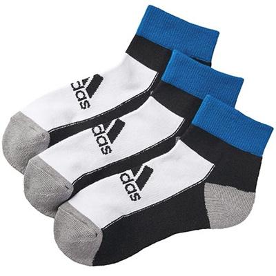 アディダス(adidas) キッズ 3足入り ショート ソックス ホワイト/ブラック/バヒアブルー DDV17 F92175 【靴下 ジュニア フットウェア】の画像